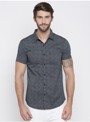 Spykar Printed Slim Fit Shirts, m,  black