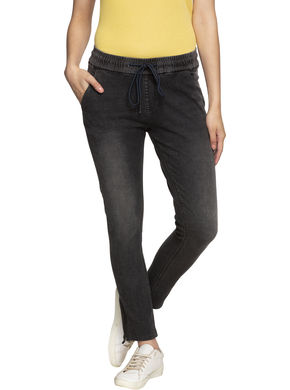 Spykar Mid Rise Skinny Ankle Length Jeans,  black, 2xl