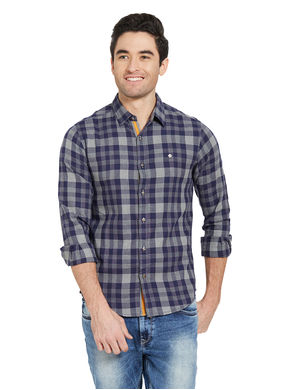 Checks Regular Slim Fit Shirt, l,  blue