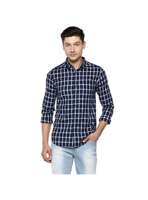 Checks Cut Away Shirt,  indigo, xl