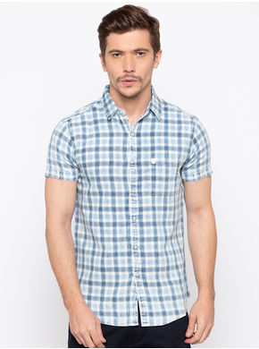 Spykar Regular Checks Slim Fit Shirts, m,  indigo