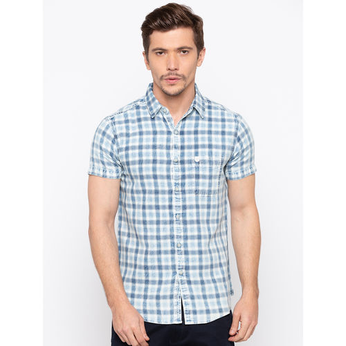 Spykar Regular Checks Slim Fit Shirts