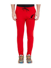 American-Elm Red-Black Star Printed Jogger For Men, xl