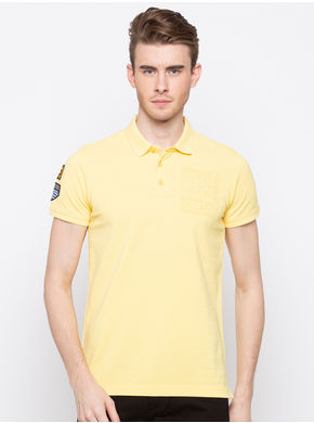 Spykar Polo Slim Fit T-Shirts, l,  pastle yellow