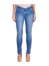 American-Elm Women's Stretchable Faded Jeans, 34, blue