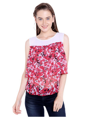 Printed Round Neck Top, s,  red