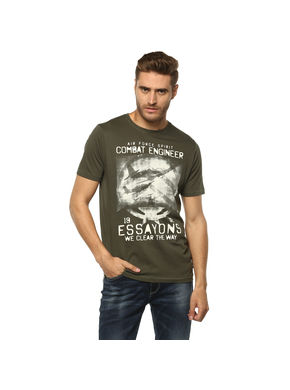 Solid Round Neck T-Shirt, xl,  olive