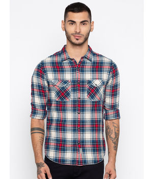 Spykar Checks Slim Fit Shirts,  red/blue, m