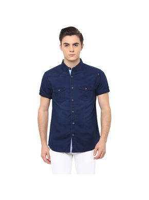 Solid Regular Shirt, s,  indigo