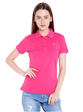 Solid Polo Collar T-Shirt, s,  pink