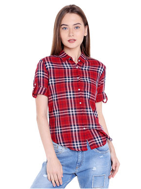Checks Collar Shirt, xl,  red