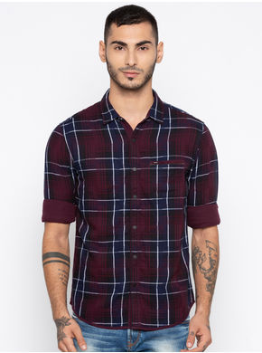 Spykar Spykar Checks Slim Fit Shirts,  wine/navy, m