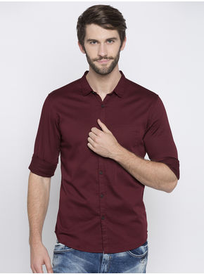 Spykar Solid Slim Fit Shirts, m,  wine