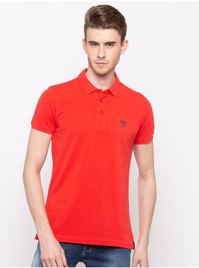 Spykar Polo Solids Slim Fit T-Shirts, m,  coral