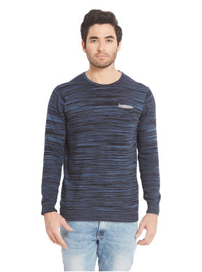 Striped Round Neck T-Shirt, s,  indigo