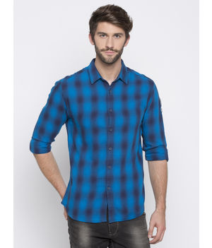 Spykar Checked Slim Fit Shirts, m,  turquoise
