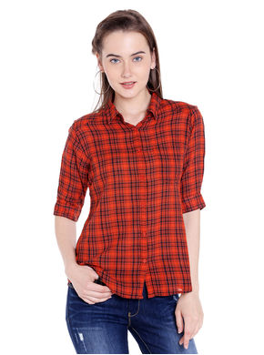 Checks Collar Shirt, xl,  orange