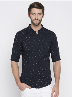 Spykar Prints Slim Fit Shirts,  navy, xl