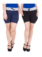 American-Elm Women's Shorts (Pack Of 2) Blue, Black, l