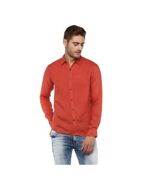 Solid Mandarin Collar Shirt,  bright red, l