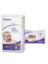 Himalaya Baby Diapers L-9 And Himalaya Soothing Baby Wipes 24'S