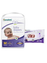 Himalaya Baby Diapers M-28 And Himalaya Soothing Baby Wipes 24'S