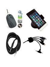 Vizio Key Chain camera Combo With Car Mobile Holder,AUX Cable and Car multiple mobile charger