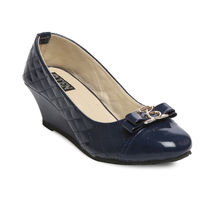 TEN Navy Blue Leather Wedges, 36