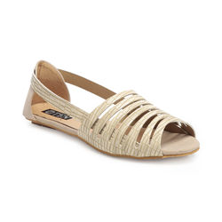 TEN Cream Synthetic Leather Sandal, 40