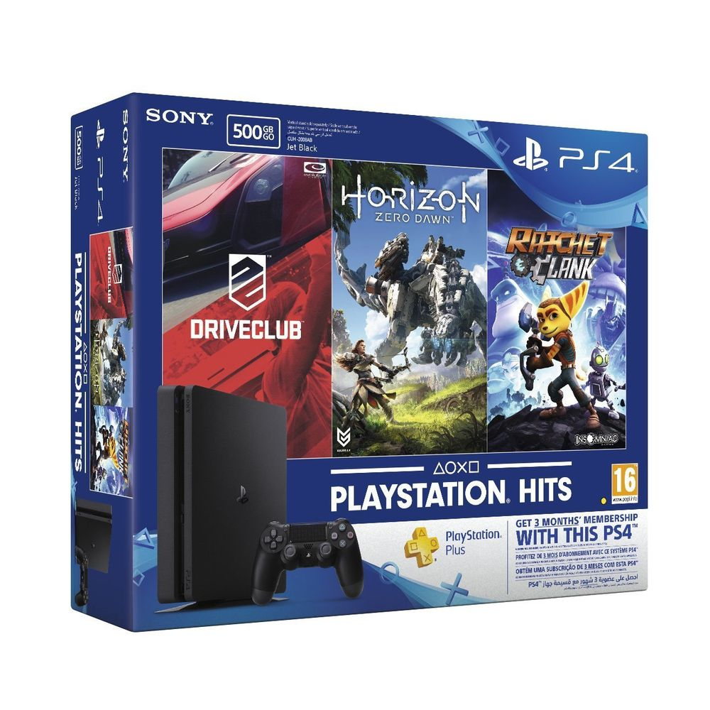 Sony PS4 500 GB Slim Console (Free Games: Horizon Zero Dawn, Ratchet and Clank and Driveclub)