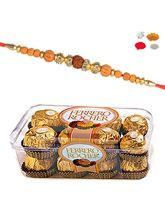 Maalpani Traditional Rudraksh Rakhi With 16 Pcs Ferrero Rocher Chocolate 156