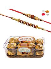 Maalpani Premium Pack Of Two Gold Diamond Rakhi With 16 Pcs Ferrero Rocher Chocolate 205