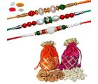Maalpani Trio Of Unique Perl And Traditional Bead Rakhi With Dry Fruits And 2 Fancy Gotapatti Batwa 326