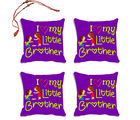 meSleep I Love My Little Brother Rakhi Hampers Cushion Cover- Set Of 4 With Beautiful Rakhis