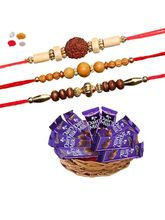 Maalpani Three Wooden Bead N Natural Rudraksh Rakhi With Cadbury Dairy Milk Chocolates 302