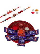 Maalpani Stylish Rakhi Chocolate Hamper With Thali And Set Of 2 Rakhi Sh215-207
