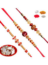 Maalpani Trendy Three Multicolour Bead Rakhi And Sandle Wood Rakhi Set &200 Gm Kaju Katli Sweet Hamper.