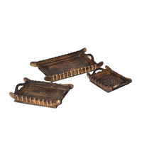 Monogram 3 Pcs Set Natural Wooden Serving Tray - Antique Finish