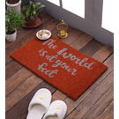 Swhf Premium Coir And Rubber Quirky Design Door And Floor Mat - The World Is At Your Feet