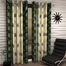 India Furnish Eyelet Polyester Curtain Long Door Length - Set Of 3 Pcs (IFCUR15042L(3) ),  green