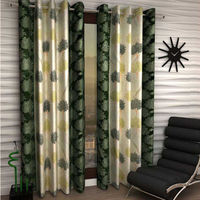India Furnish Eyelet Polyester Curtain Long Door Length - Set Of 5 Pcs (IFCUR15042L(5) ),  green