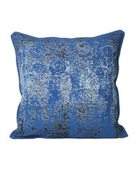 Monogram Blue Square Cotton Print Cushion Cover Set - 5 Piece