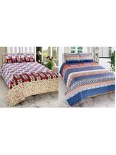 Valtellina Cotton Combo Of 2 Double Bed Sheet With 4 Pillow Cover (CO_ TRT-13), multicolor