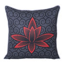 Monogram Black Square Polyester With Digital Print Cushion Cover Set - 5 Piece