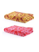 Turkish Bath 100% Pure Double Twisted Cotton 410 Gsm Royal Aura Bath Towel - Red And Yellow