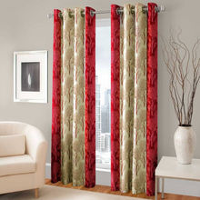 "India Furnish Designer Maroon Eyelet Polyester Curtain Door Length (Set of 8 Pcs) 84"" x48"""