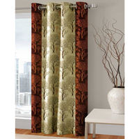 "India Furnish Designer Brown Eyelet Polyester Curtain Window Length (Set of 1 Pcs) 60"" x48"""
