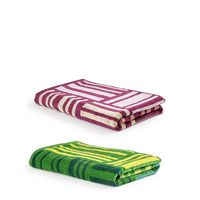 Turkish Bath 100% Pure Double Twisted Cotton 410 Gsm Broken Check Bath Towel - Green And Purple