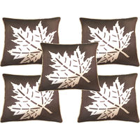 "India Furnish Dupion Maple Leaf Design 5 Pieces Cushion Covers Set - 16"" X 16"" , Brown"