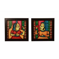 Cocovey Couple Handmade Rajasthani Phad Painting Collage (HWP111015), multicolor